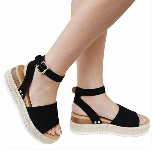 Black Espadrille Ankle Strap Platform Sandals
