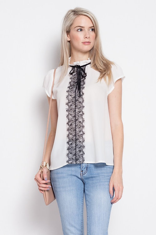 White Cap Sleeve Black Lace Front Top