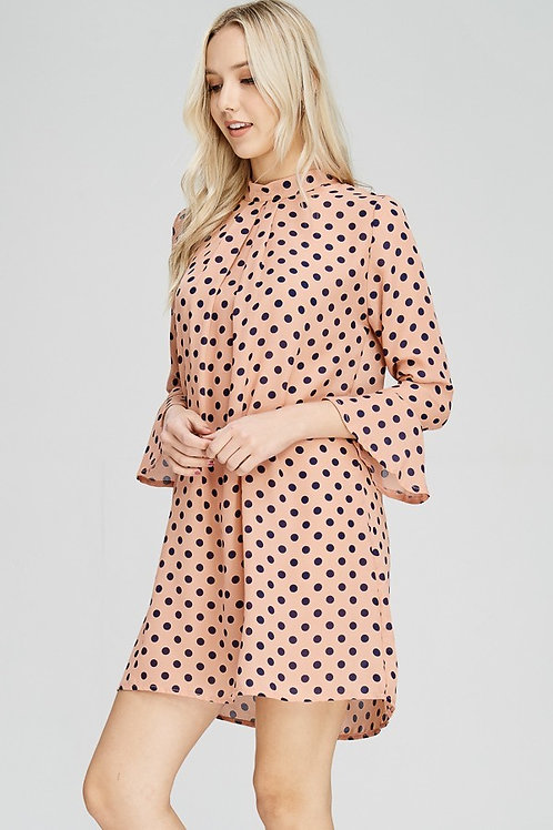 Pale Pink and Navy Polka Dot Trumpet Sleeve Dress
