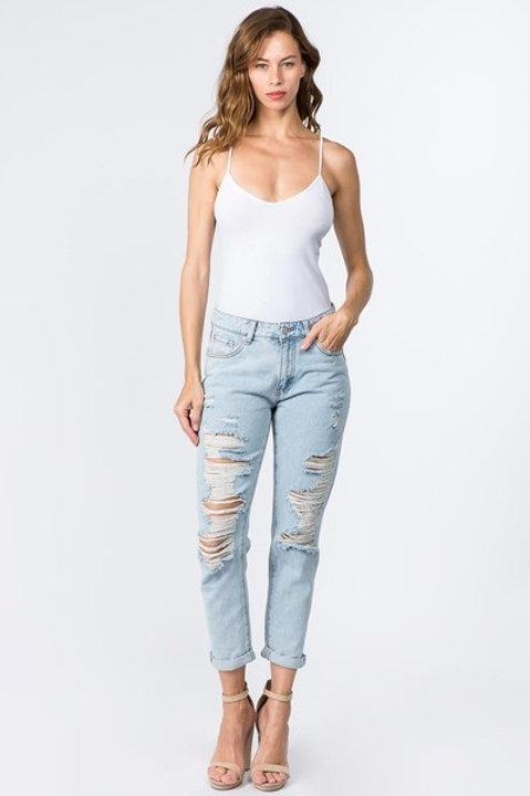 Light Denim Distressed Boyfriend Jeans