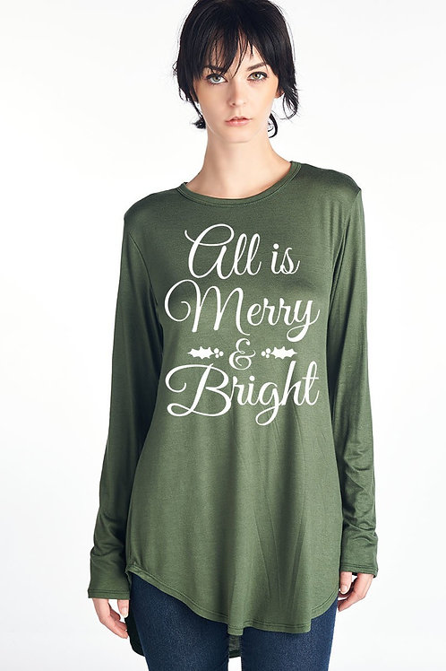 All is Merry and Bright Green Holiday Tee