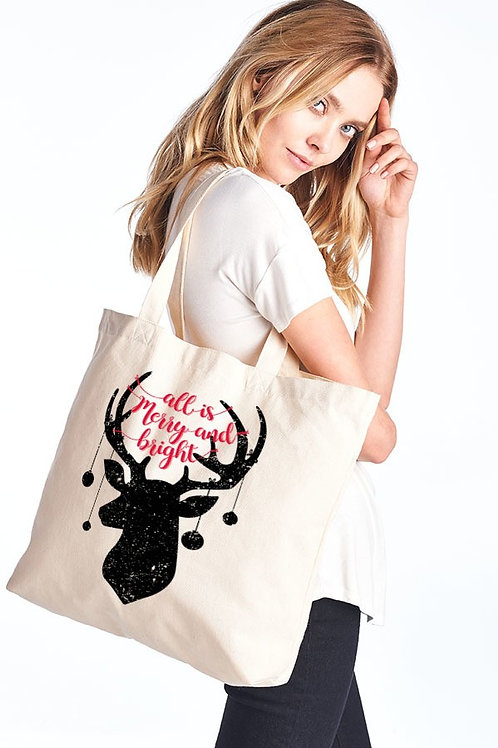 All is Merry and Bright Natural Canvas Tote