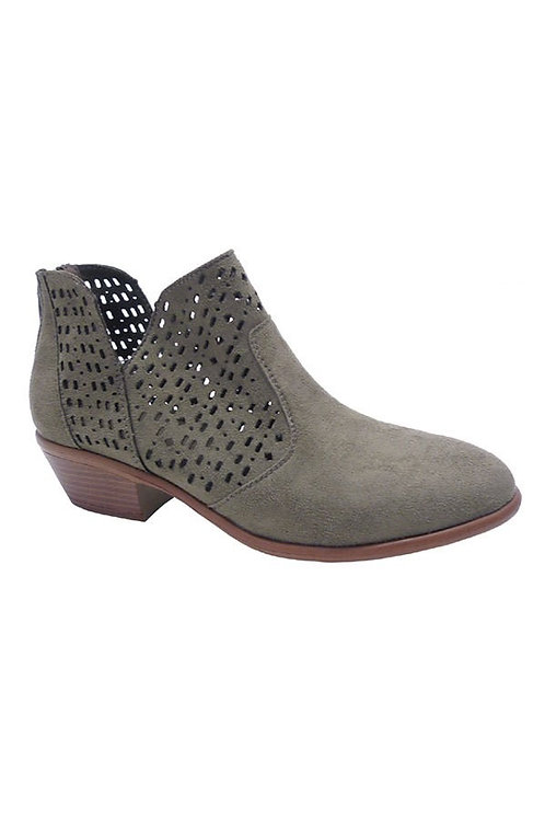 Grey Perforated Booties