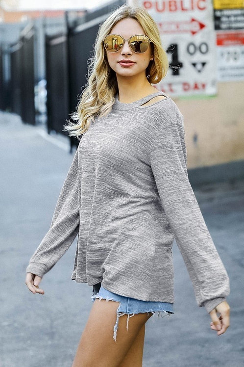 Heather Gray Shoulder Accent Sweater