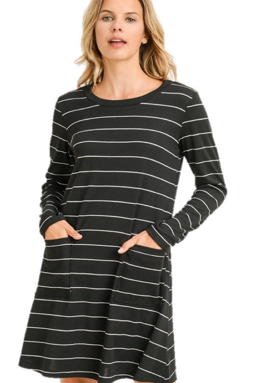 Black and White Striped Sweatshirt Dress