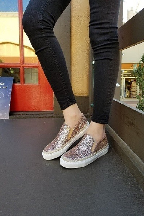 Rose Gold Glitter Espadrille Sneakers