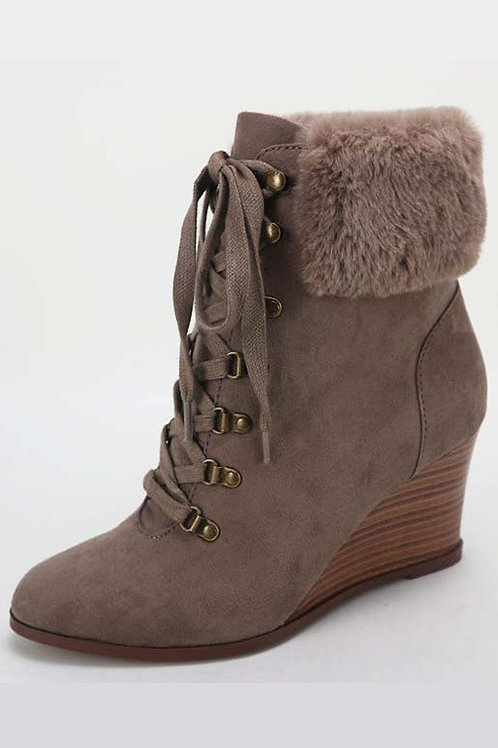Taupe Wedge Heel Fur Lined Boots