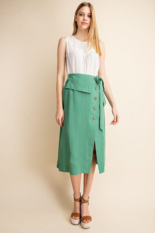 Green Midi Button Front Tie Waist Skirt