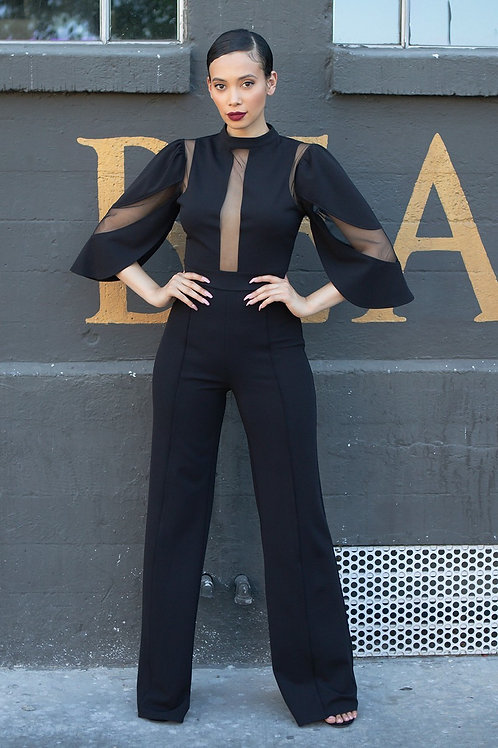Black Semi Sheer Jumpsuit