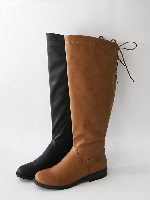 Black Lace Up Back Boots