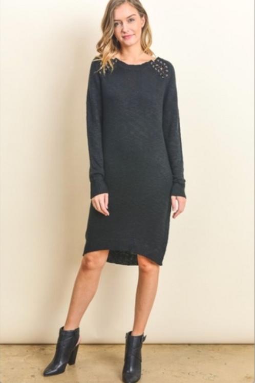 Black Lace Up Shoulder Sweater Dress