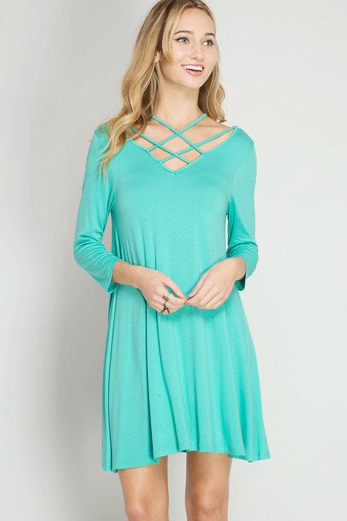 Mint Criss Cross Swing Dress
