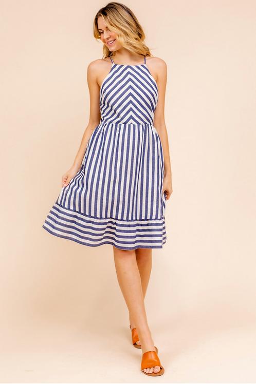 Blue Striped Open Back Dress