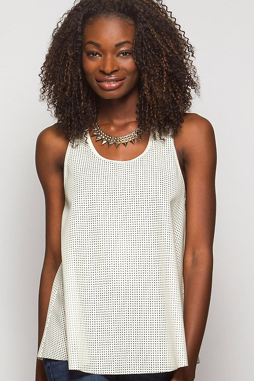 Faux Leather Mesh Tank Top