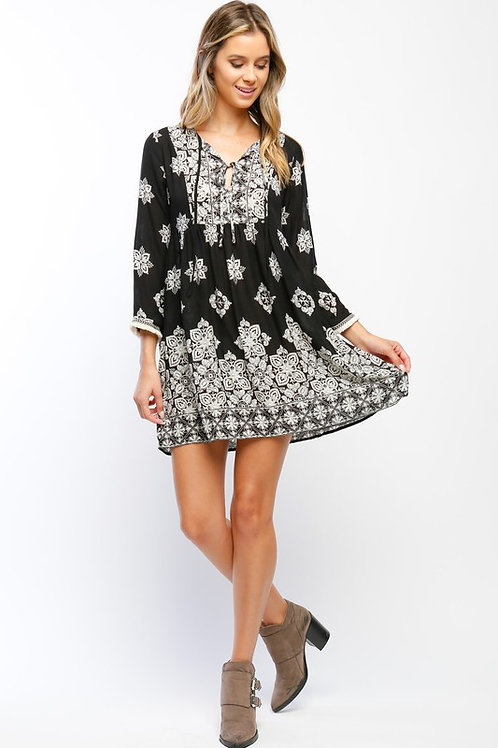 Black and White Ornate Print Lace Up Dress