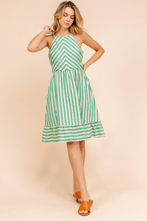 Green Striped Open Back Dress