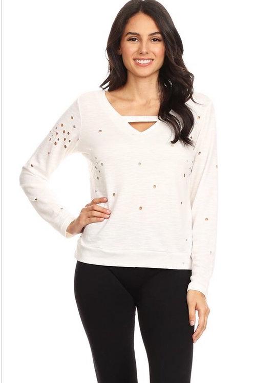 White Distressed Criss Cross Sweatshirt