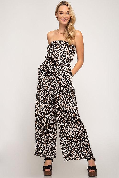 Dark Leopard Print Wide Leg Jumpsuit