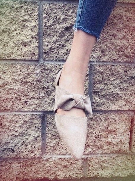 Taupe Bow Tie Flats