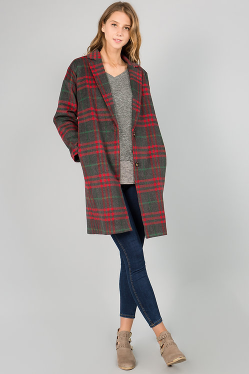 Red and Gray Plaid Coat