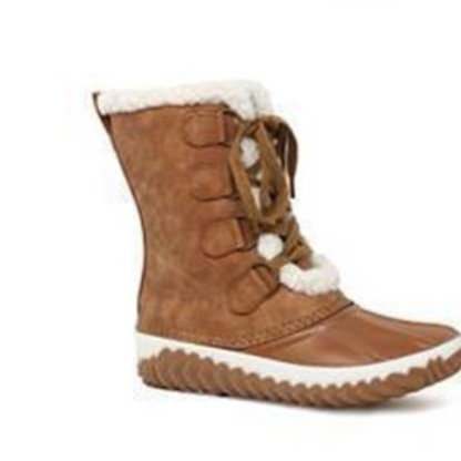 Tan Brown Lace Up Fur Duck Boots