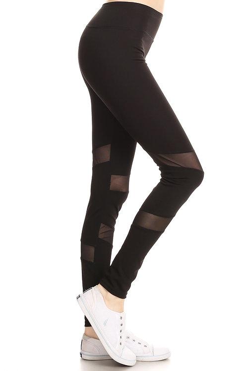 Black Mesh Panel Workout Legging Pants