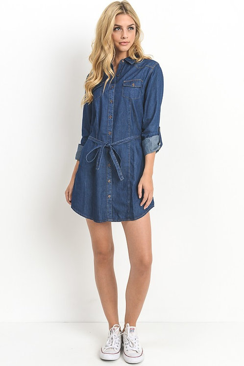 Long Sleeve Chambray Belted Shirt Dress