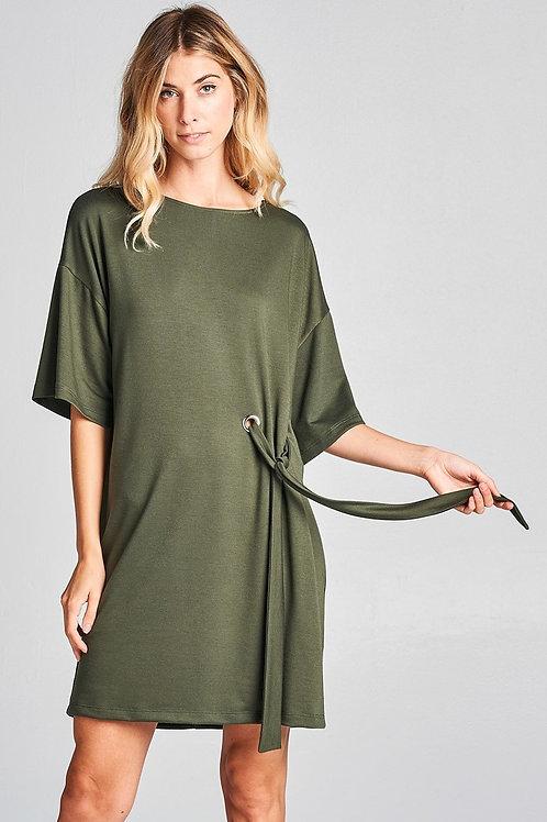 Olive Waist Eyelet Tie Dress