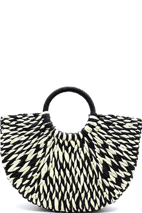 Black and White Straw Top Handle Tote