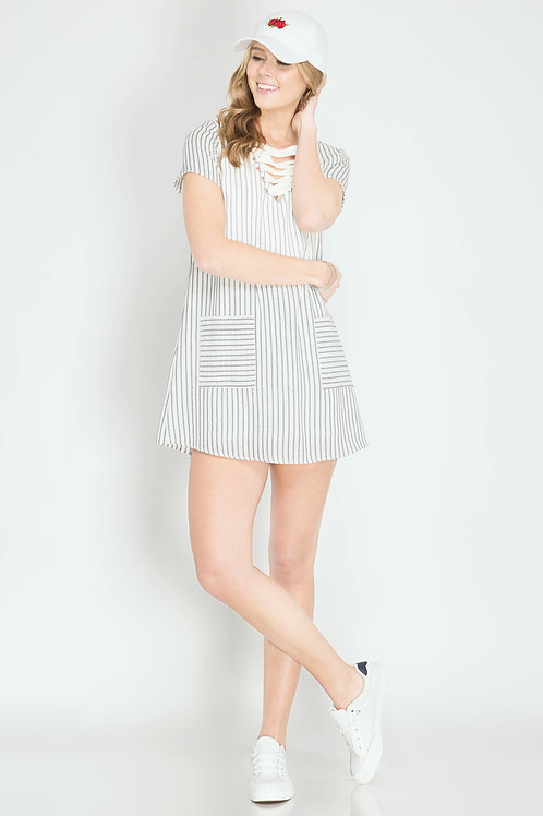 Lace Up Striped Blue and White Shift Dress