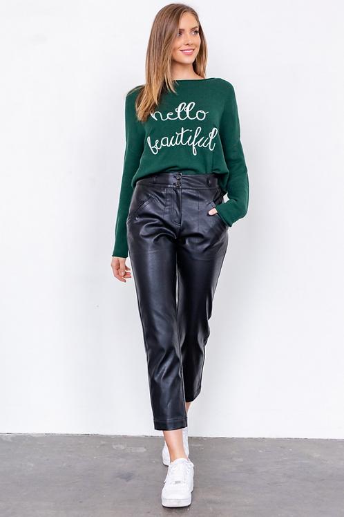 Hello Beautiful Hunter Green Sweater