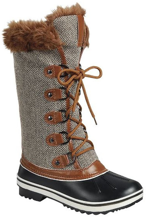 Gray Herringbone Winter Snow Boots