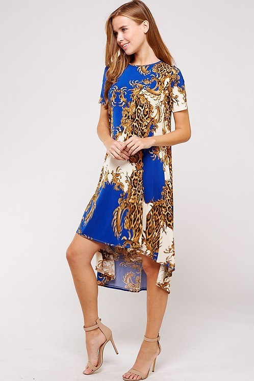 Scarf Print Royal Blue and Gold Silky Dress