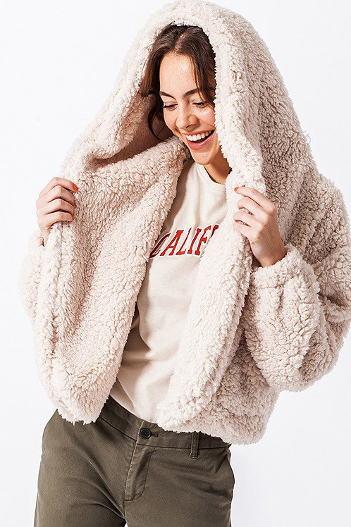 Off White Faux Fur Hoodie Jacket