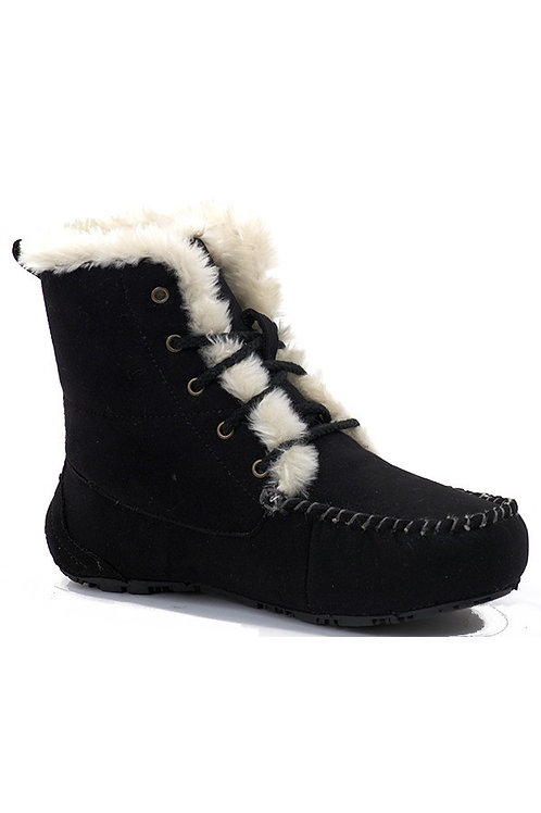 Black Faux Fur Moccasin Winter Booties
