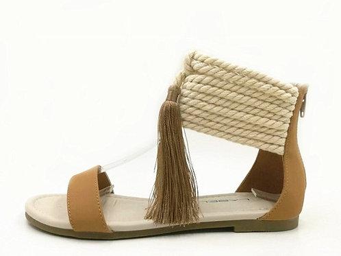 Rope and Tassel Tan Sandals