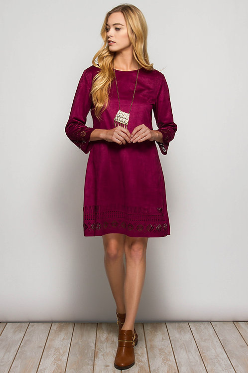 Jenna Collection Faux Suede Dress with Laser Cutouts
