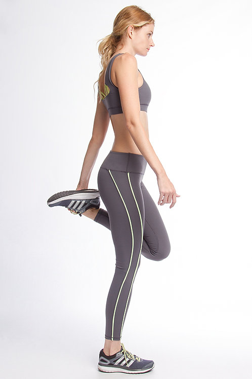 Gray and Neon Yellow Trimmed Athletic Leggings