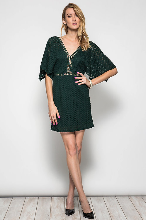 Green Lace Dress with Contrast Trim
