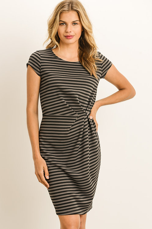 Black and Gray Striped Ruched Dress