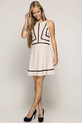 Taupe Sleeveless Contrast Fit and Flare Dress