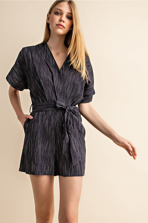 Navy and Silver Striped Wrap Tie Front Romper