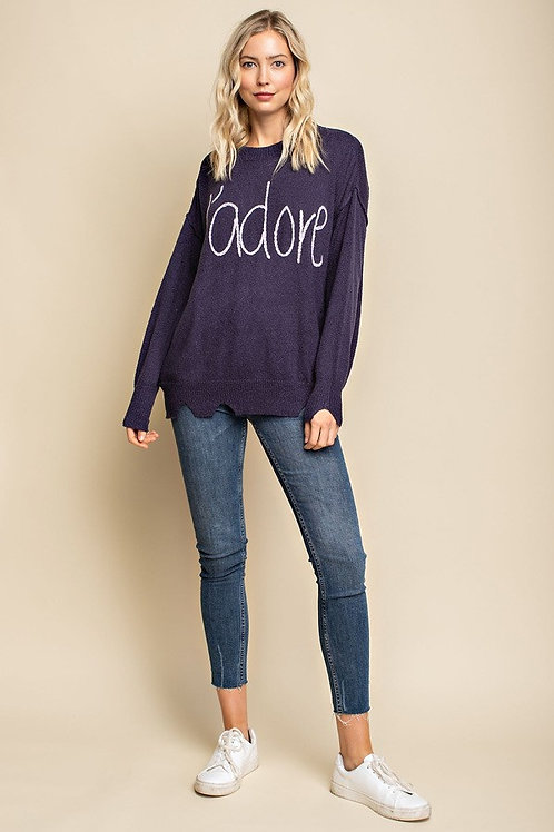 Navy and Purple J'adore Sweater