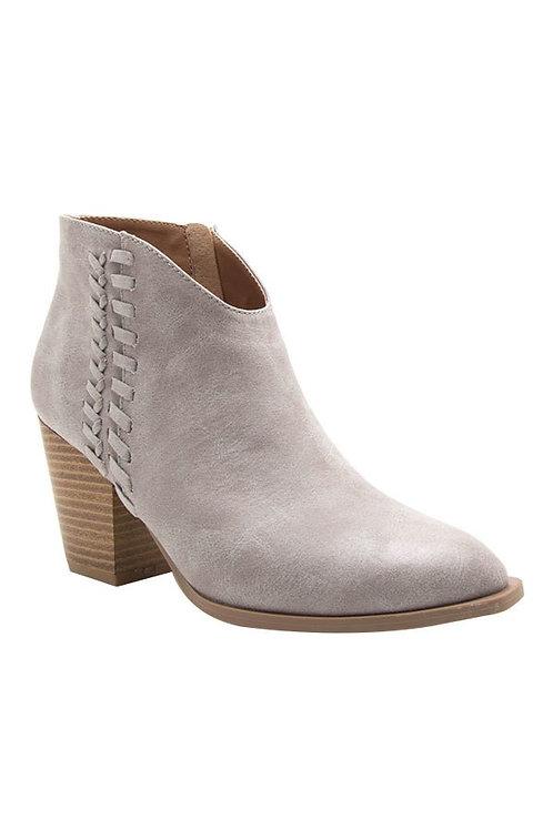 Grey Block Heel Ankle Booties