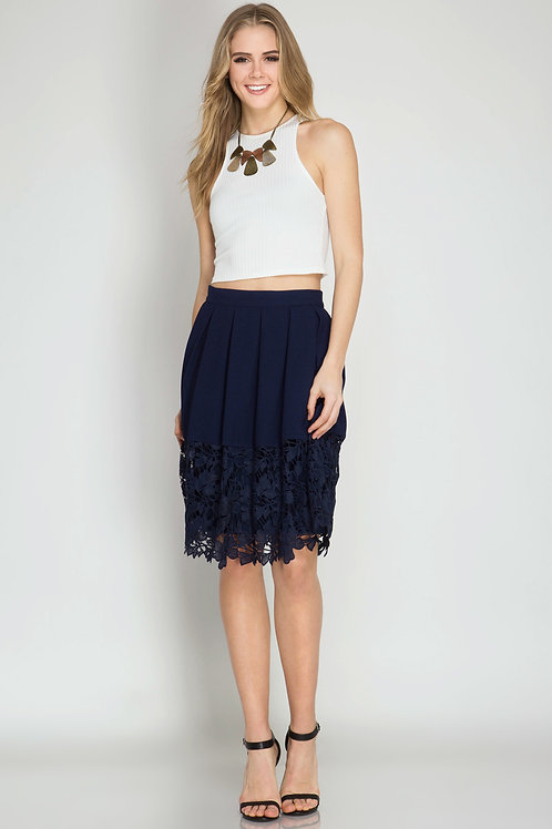 Navy Midi Skirt with Floral Crochet