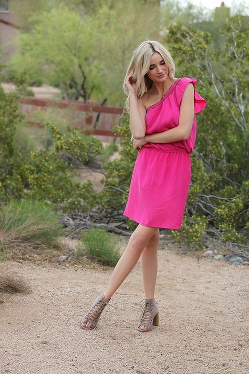 One Shoulder Pink Dress