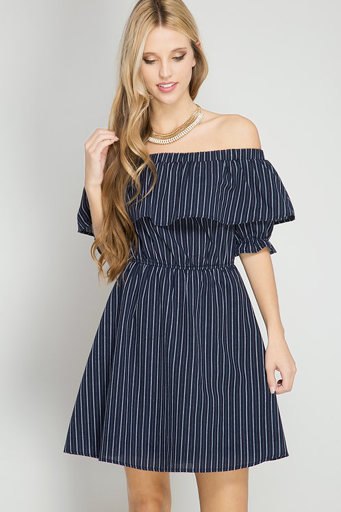 Navy and White Striped Off-the-Shoulder Dress