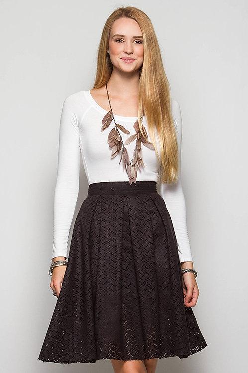 Black Laser Cutout Faux Suede Skirt