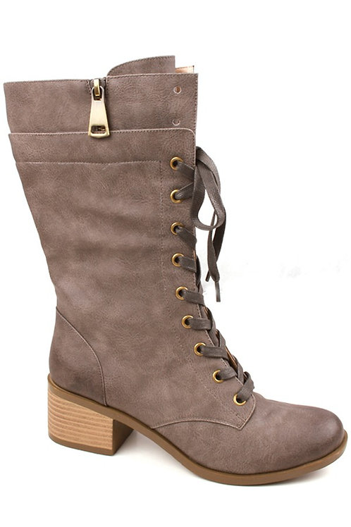 Gray Lace Up Motorcycle Boots