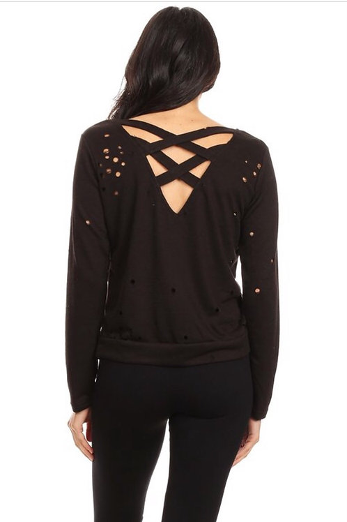 Black Distressed Criss Cross Sweatshirt